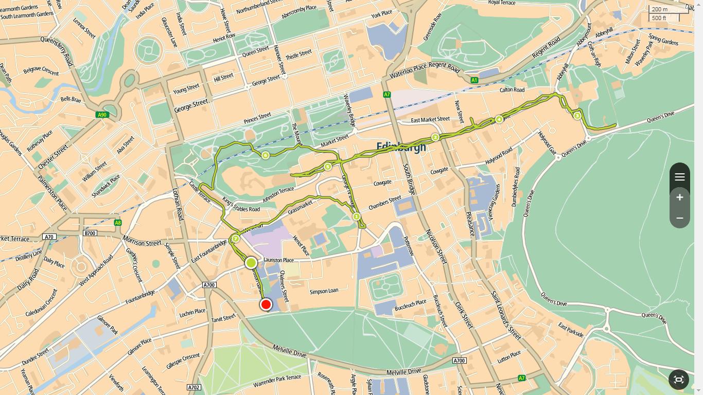Edinburgh, routekaart