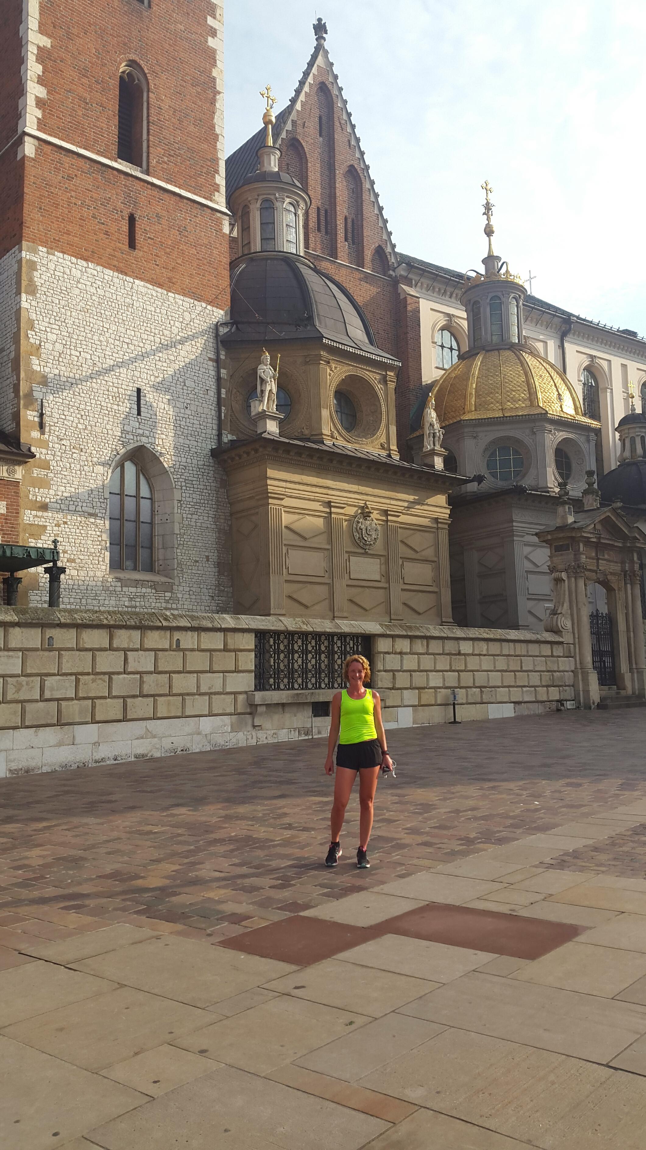 Hardlopen in Krakau, de kathedraal met de gouden koepel