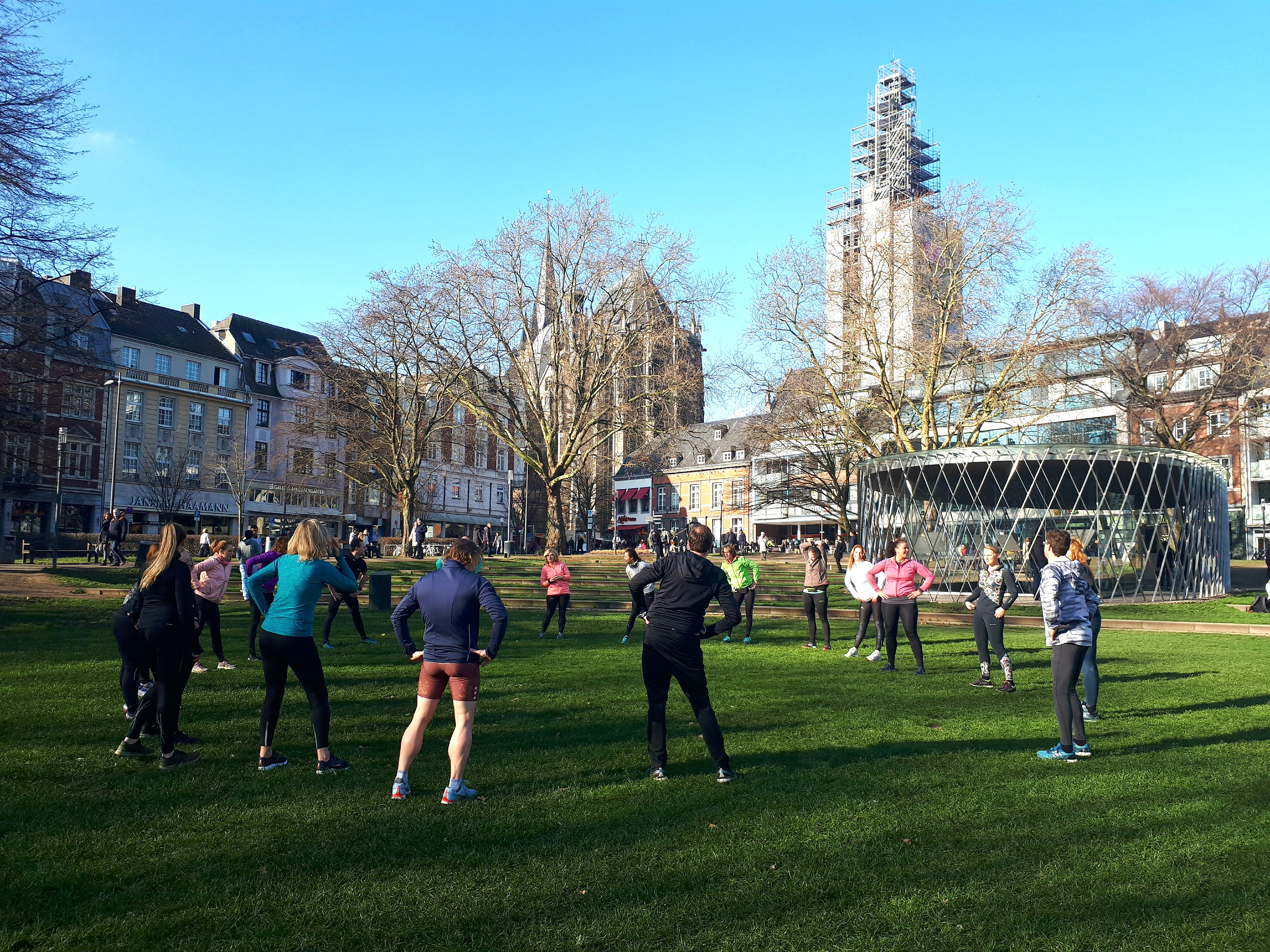 Hardlopen in Aken, warming-up