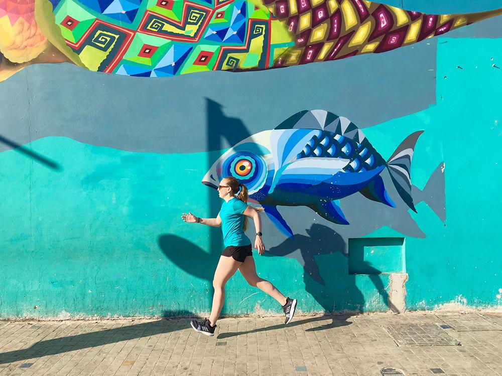 Hardlopen in Mexico Playa del Carmen streetart 2