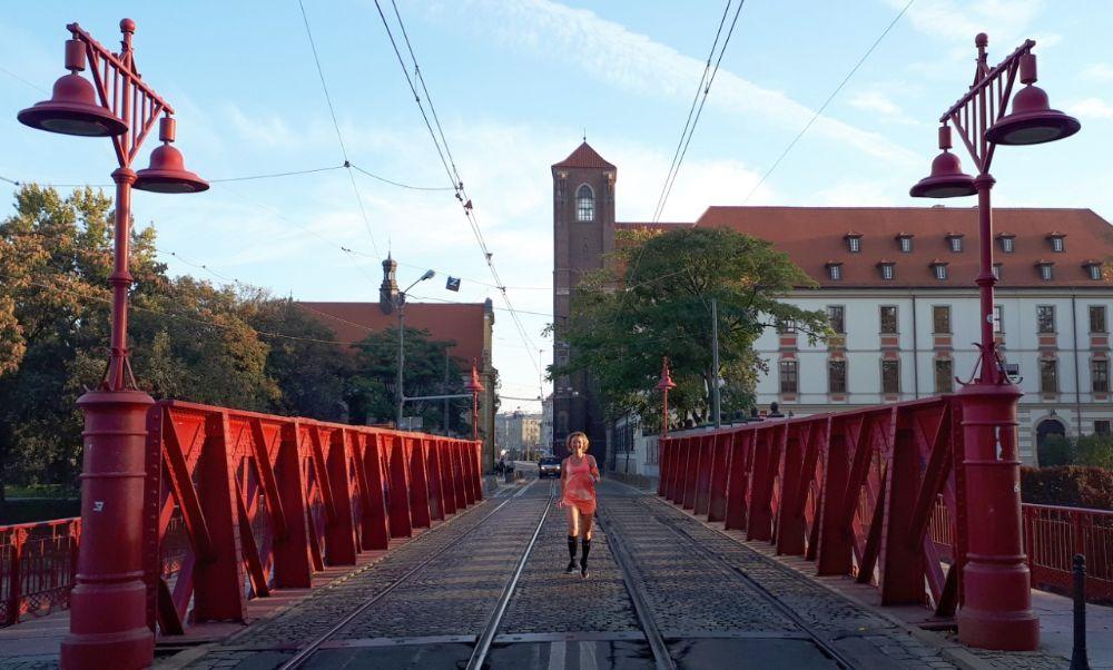 Hardlopen in Wroclaw - midden op de rode brug