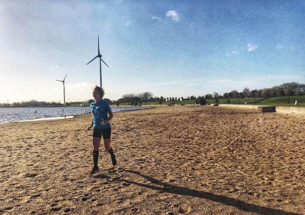 Halve marathon van Curacao - op het strand