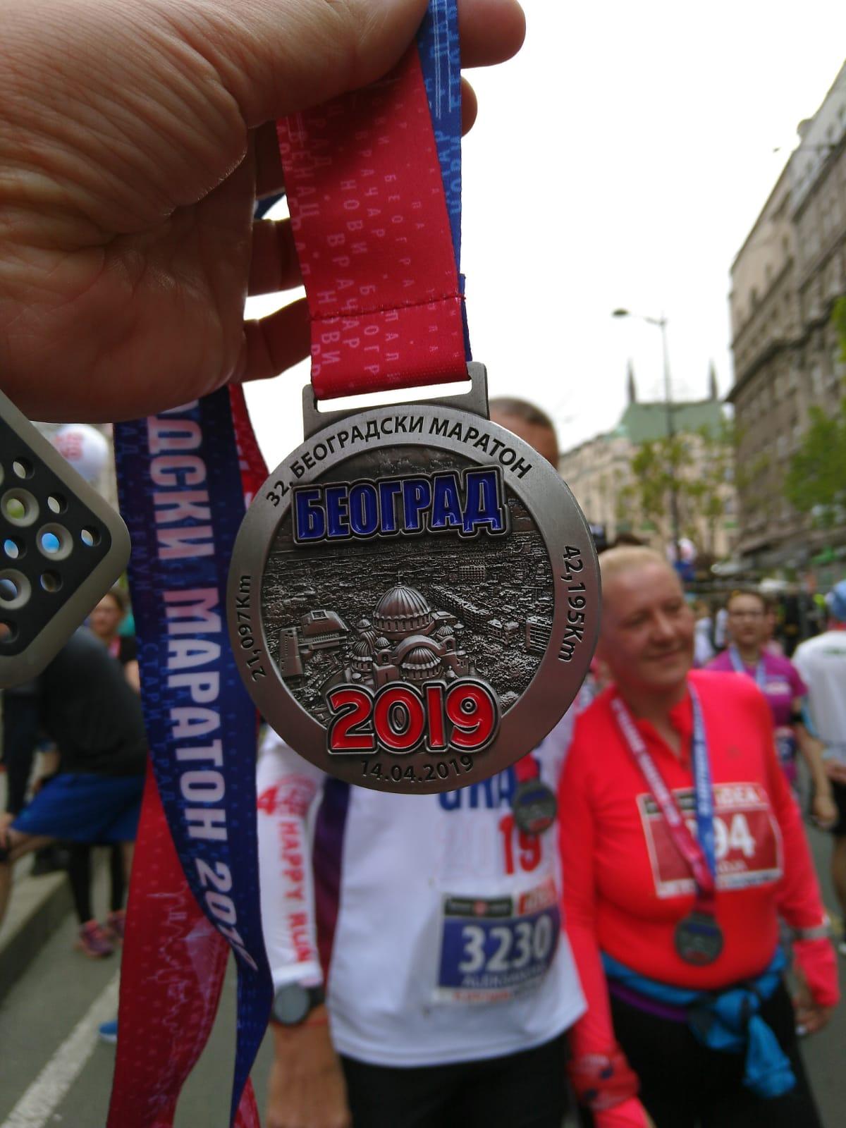 Medaille halve marathon Belgrado