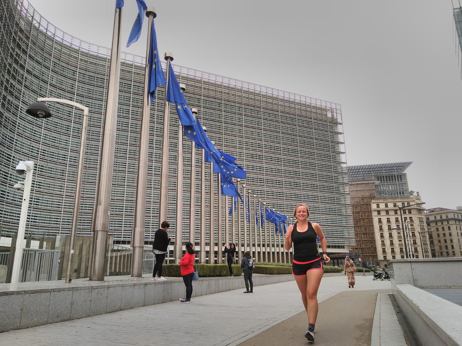 Hardlopen in Brussel europese unie